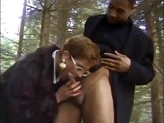 Short haired mature lady blows untouched dick in hammer away forest