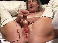 60 year old granny milf grown-up gilf fat orgasm with pink rabbit