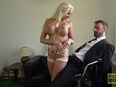 silicone blonde Cindy Sun gets fucked wide of friend's penis on the lie alongside