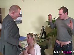 German Office Threesome Orgy After Work Hd Motion picture - cock sucking