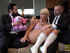 Blonde slut London River likes almost fuck in front of her husband