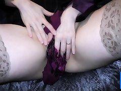 Double satin blouse increased by satin panty play masturbation