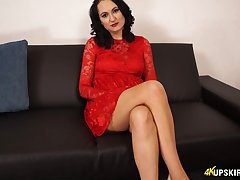 Brunette up in flames dress Bonnie shows their way shaved hungry pussy upskirt