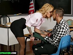 MILFie tutor more gorgeous huge boobies Sarah Jessie is fucked on desk