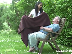 Ava Black adores out of doors fuck helter-skelter the garden with her aged lover