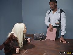 Bridgette B, gets her pussy pounded by her horny boyfriend above chum around with annoy table