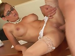 Holly West works hard to get that collide with cum saddle with all over her heady glasses - holly west