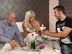 DADDY4K. Blond Hair Lady-haired dollface Ria Full knowledge tries old male stick