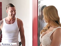 Scurrilous giant breasted blonde sexpot Sarah Vandella is poked mish and doggy
