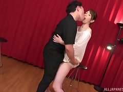 Standing doggy style after amazing blowjob is Shouda Chisato's target