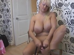 Big knocker blonde far mini skirt and pantyhose stripping