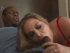 Sexy MILF in red lingerie Kendra Lynn takes BBC in interracial