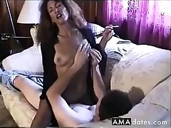 Hot Sexy Brunette Smoking and Riding Horseshit