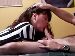 Busty brunette wife sucks her husband before he flips her over and stuffs her fuck hole
