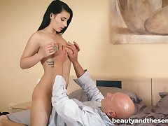 Young brunette Nelly Kent is having dirty sex fun with old bald headed dude