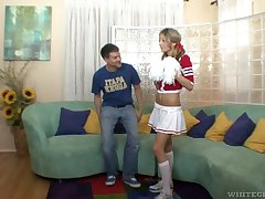 Horny cheerleader needs a diacritic relieving fuck with a man older than her
