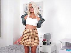 Whorish buxom blonde lady Lu Elissa poses nude solo close to make you wank