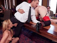 Costumed and horny Simone Sonay enjoys kinky group sex and bdsm game