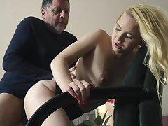 Teen on her knees sucking on grandpa bushwa deepthroat
