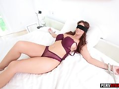 Tied up blindfolded MILF sucked a bad stepsons cock