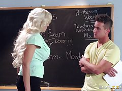 Blonde university school Nina Elle loves having dealings with her student