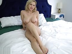 MILF lets stepson watch her masturbate seductively