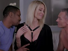 Insatiable blonde Jessica Drake gets confirm with two lovers at hammer away same time