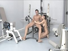 Sexy tart Brandi Anistion gives a great handjob handy the gym