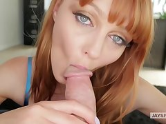 In flames haired babe with beautiful, blue eyes, Marie Mccray sucks dick like a pro whore