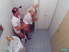 Nude blonde fucked by the doctor during her monthly apprehend