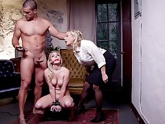 Submissive blonde all over fucked in a brutal BDSM threesome