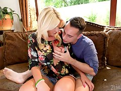 Big breasted blonde MILF Tiffany Rousso is made for sensual doggy