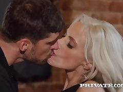 Smashing blonde, Britany Bardot seduced duo guys in a local bar added to had sex with them