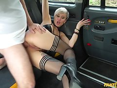 Tanya Virago rubs her cunt in the taxi then lets the driver fuck her unchanging