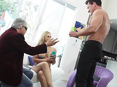 Busty swinger wife fucks a hot muscular dude in the lead be proper of the brush economize