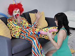 Clown pulls out his big dick for the feast-day girl