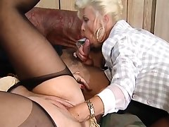Hot plus horny blonde matured fucked plus fisted on bed