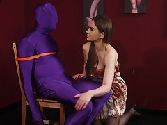 Energized Tina Kay plays with her submissive suppliant in a dirty fetish