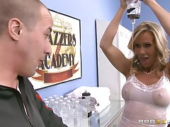 Fucking in the locker room with busty mature star Simone Sonay