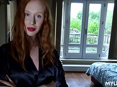 To get a chance to repugnance poked doggy redhead in black nylon stockings gives head