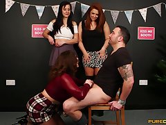 Gay blade with a small detect gets teased by Carly G and her best friends