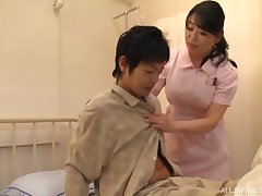Asian nurse drops her give one's eye-teeth to ride a patient's stiff dick