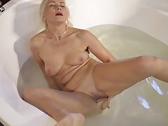 Sylvie masturbates in the hot tub and goes off the dominance for you
