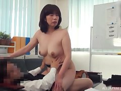 Evil fucking in someone's skin office with an amateur Japanese mature